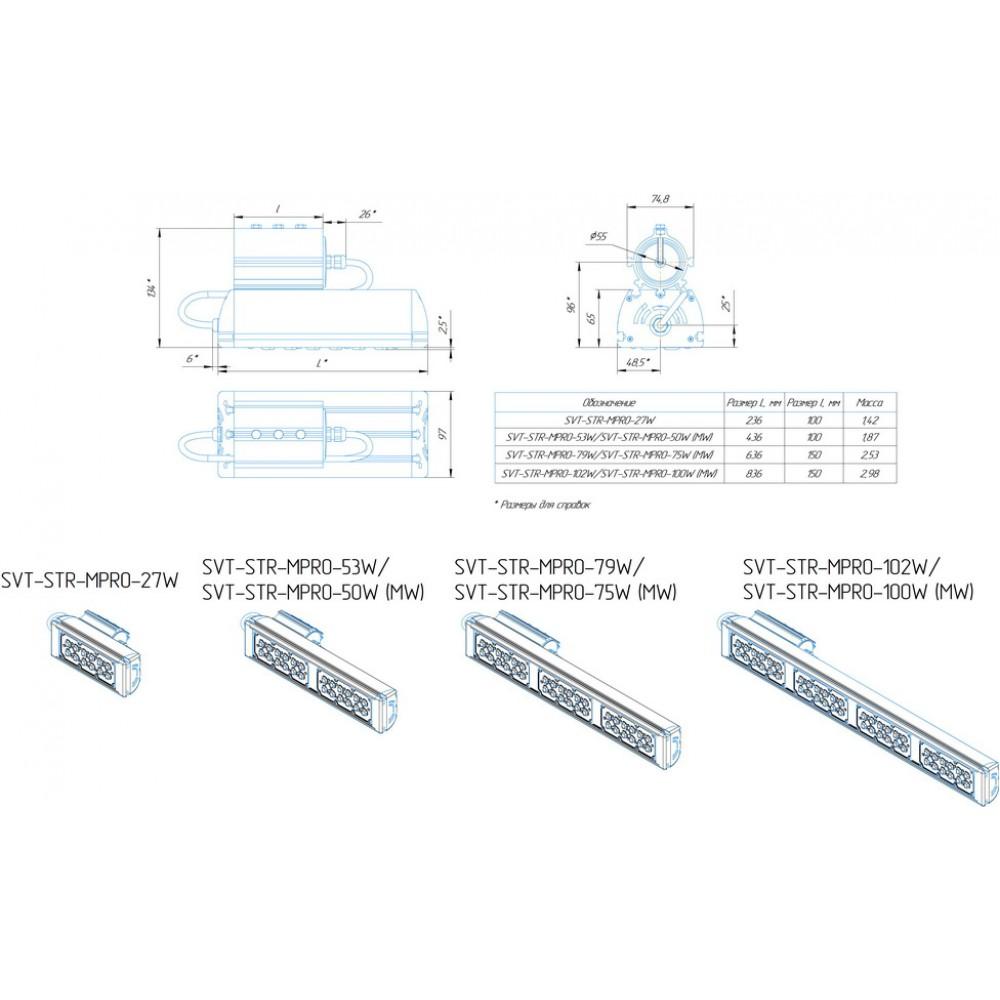 Светодиодный уличный светильник SVT-STR-MPRO-75W-45x140-C (MW)