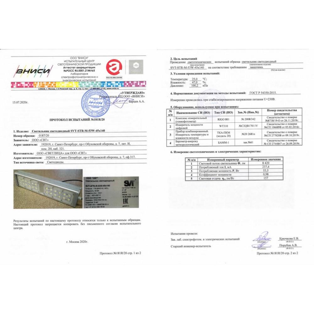 Светодиодный уличный светильник SVT-STR-M-53W-20-DUO (с защитой от 380)
