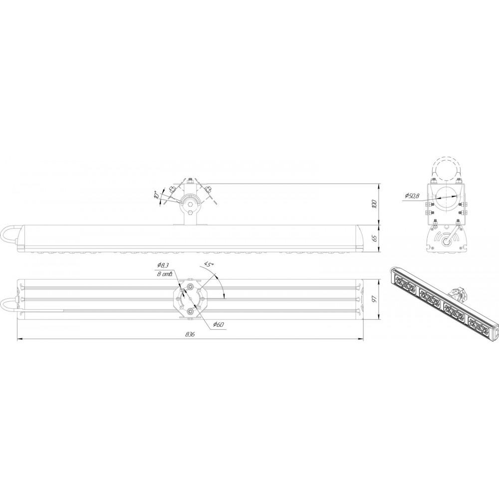 Светодиодный уличный светильник SVT-STR-MPRO-100W-45x140 (MW)