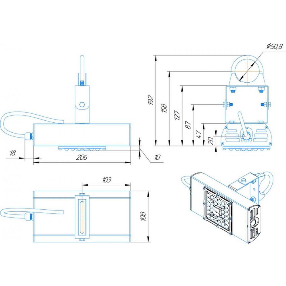 Светодиодный уличный светильник SVT-STR-BM-30W-60