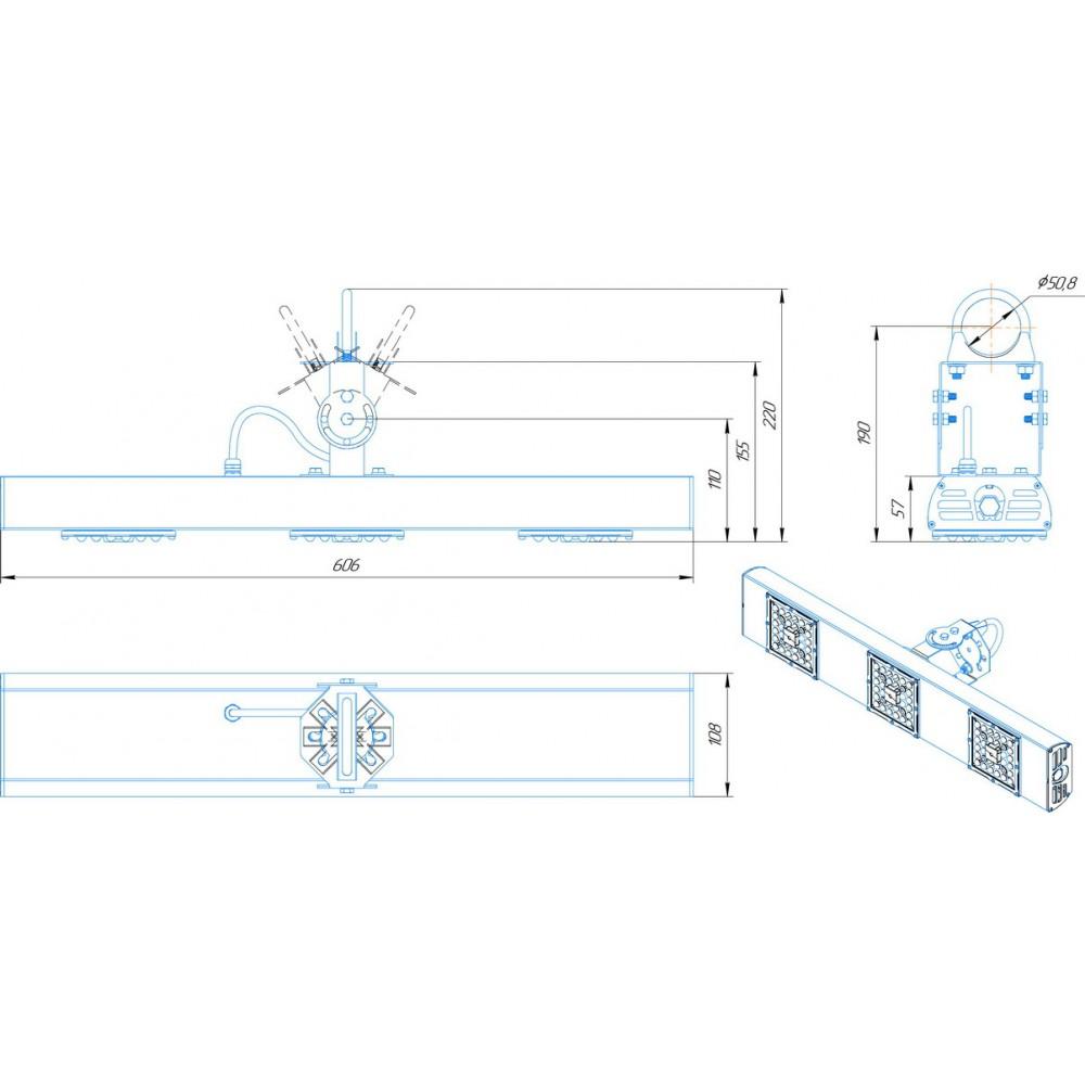 Светодиодный уличный светильник SVT-STR-BM-90W-60
