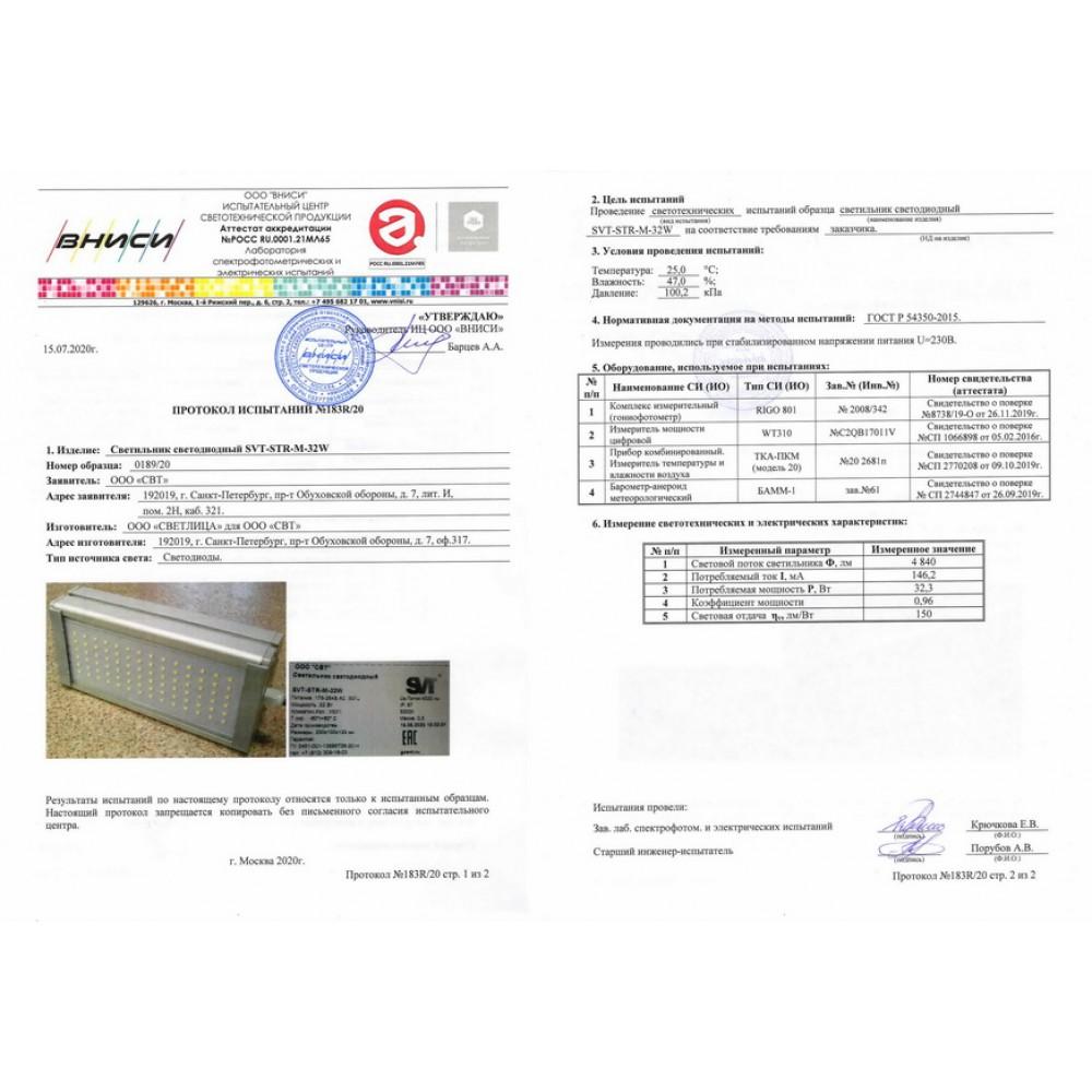 Светодиодный уличный светильник SVT-STR-M-32W-DUO (с защитой от 380)