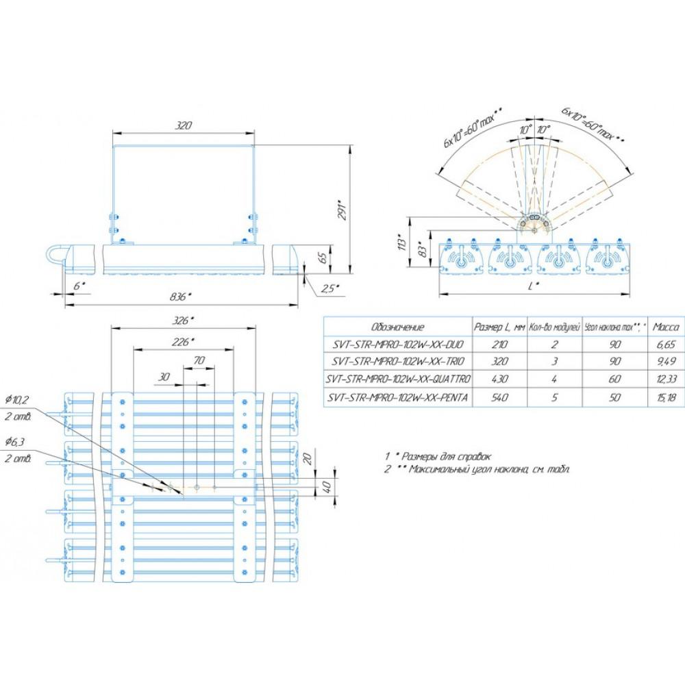 Светодиодный уличный светильник SVT-STR-MPRO-102W-30x120-QUATTRO