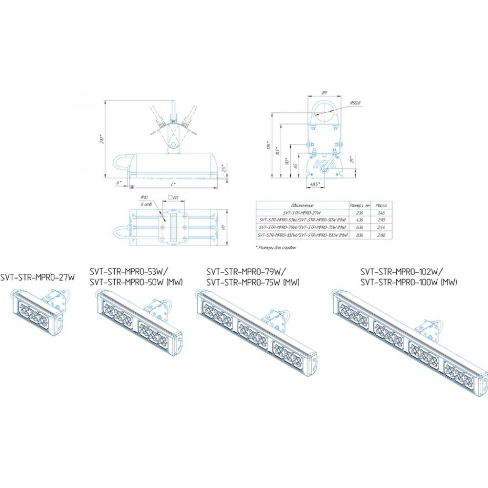 Светодиодный уличный светильник SVT-STR-MPRO-50W-100 (MW)