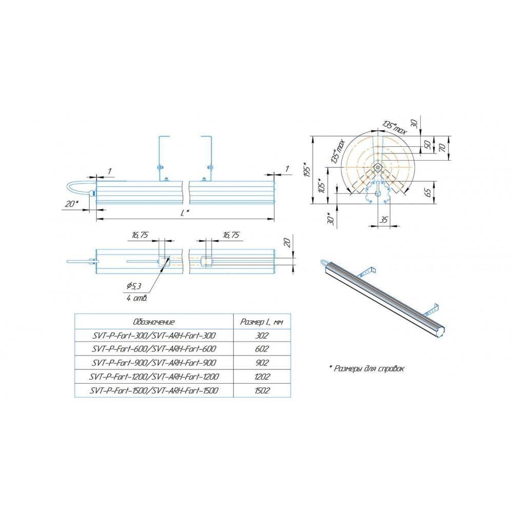 Архитектурный LED светильник SVT-ARH-Fort-1200-52W-10x60