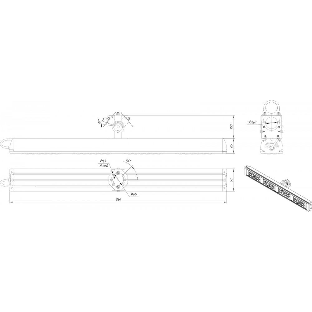 Светодиодный уличный светильник SVT-STR-MPRO-Max-155W-45x140