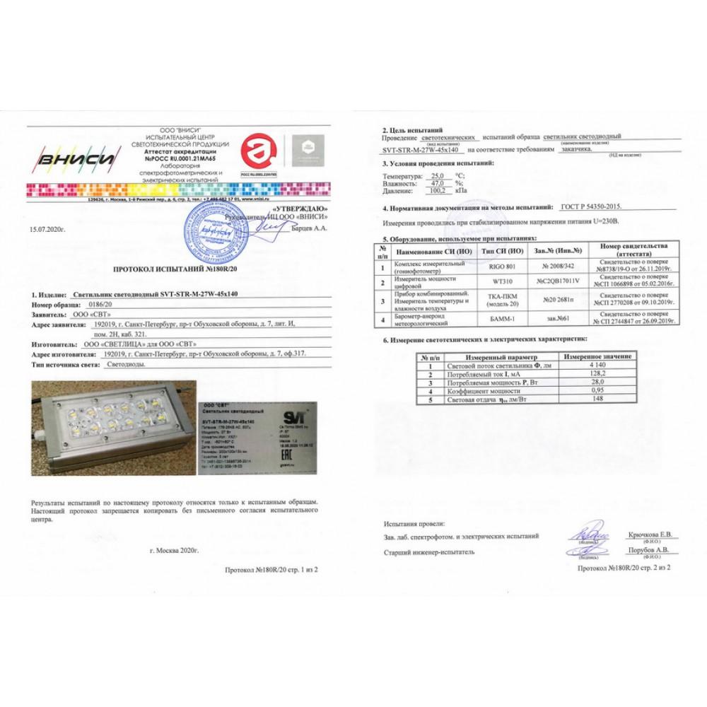 Светодиодный уличный светильник SVT-STR-M-27W-35-DUO (с защитой от 380)