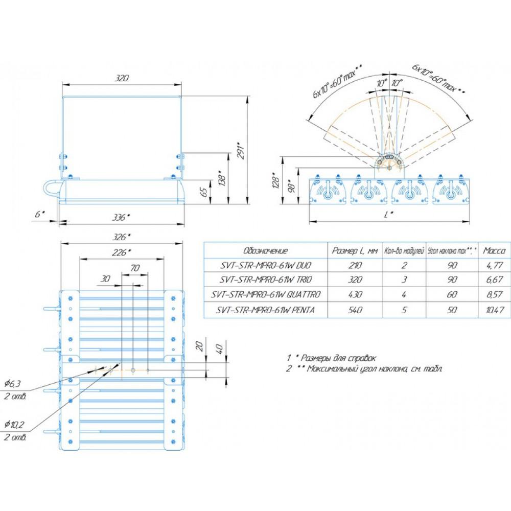 Светодиодный уличный светильник SVT-STR-MPRO-61W-DUO