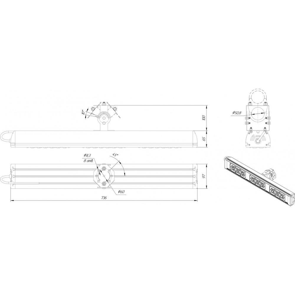 Светодиодный уличный светильник SVT-STR-MPRO-Max-119W-30x120
